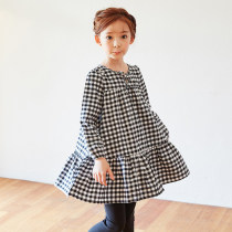Dress Spring and autumn plaid skirt with velvet plaid skirt Other / other female 100cm 110cm 120cm 130cm 140cm 150cm 160cm Cotton 100% spring and autumn Korean version Long sleeves lattice Cotton blended fabric A-line skirt Spring and autumn 6203 Jiarong 6101 other