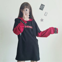 Sweater / sweater Autumn of 2018 Black (long) black (short) Average size Long sleeves Socket singleton  routine Hood easy Sweet routine 18-24 years old