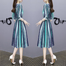 Dress Spring of 2018 Picture color S M L XL 2XL Mid length dress singleton  elbow sleeve commute Crew neck middle-waisted stripe Socket A-line skirt