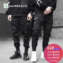 Casual pants Others Youth fashion black S M L XL trousers Other leisure Self cultivation No bullet tide middle-waisted Little feet Overalls Pocket decoration polyester fiber