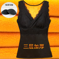 Warm top female Tang Ya Shi The skin color is black XL (75-95 kg) 2XL (95-120 kg) 3XL (120-140 kg) 4XL (140-155 kg) 5XL (155-170 kg) 6xl (170-185 kg) keep warm Sleeveless thickening Solid color 3 layers Plush cotton V-neck pure cotton youth sexy Lace lace No patch 3960 three layer thick