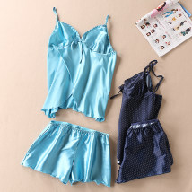 Vest sling Summer of 2018 Blue green Navy S M L XL Two piece set routine Self cultivation Sweet camisole Solid color