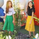 skirt Yellow green 120cm 130cm 140cm 150cm 160cm 170cm BBFAISEN female Other 100% summer skirt Korean version Solid color nylon S154# Class B
