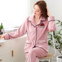 Pajamas / housewear set female Other / other M L XL XXL Polyester (polyester) Long sleeves Sweet winter routine Small lapel Plants and flowers trousers double-breasted rubber string More than 95% Flannel printing