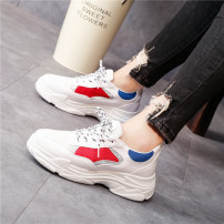 Low top shoes 35 36 37 38 39 Other / other Red blue Round head Flat bottom Mesh Midmouth Low heel (1-3cm) cloth Summer of 2018 Frenulum college Injection pressure shoes Youth (18-40 years old) Color matching Rubber foaming skate shoes Cross tie color matching waterproof table Face dressing