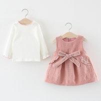 Dress Yellow Navy Pink Other / other female 66cm 73cm 80cm 85cm 90cm 95cm 100cm Cotton 80% polyurethane elastic fiber (spandex) 20% spring and autumn Korean version Long sleeves other Cotton blended fabric Irregular