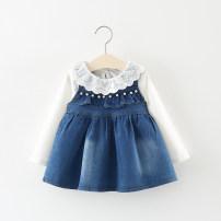 Dress blue Other / other female 66cm 73cm 80cm 85cm 90cm 95cm 100cm Cotton 85% polyurethane elastic fiber (spandex) 15% spring and autumn princess Long sleeves other Cotton blended fabric Irregular