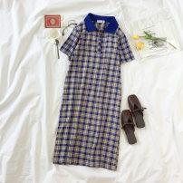Dress Summer of 2018 Average code Blue Plaid Long skirt Commuting Single Short sleeve POLO collar lattice Elastic waist Sleeve A-line skirt Type A