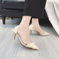 Low top shoes 35 36 37 38 39 Tim Shang White black Sharp point Fine heel Suede Shallow mouth High heel (5-8cm) PU Summer of 2018 Trochanter Korean version Adhesive shoes Youth (18-40 years old) Solid color rubber Single shoes Shallow mouth PU daily R740