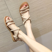 Sandals 35 36 37 38 39 Brown Black apricot Crrcrr / karara PU Barefoot Flat bottom Low heel (1-3cm) Summer of 2018 Flat buckle Korean version Solid color Adhesive shoes Youth (18-40 years old) rubber daily Front and rear trip strap Buckle Roman style Low Gang Hollow PU PU Roman shoes Frosting