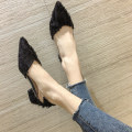 Low top shoes 35 36 37 38 39 Crrcrr / karara Pink Black Sharp point Thick heel cloth Shallow mouth Middle heel (3-5cm) PU Summer of 2018 Trochanter Korean version Adhesive shoes Youth (18-40 years old) Solid color rubber Single shoes Shallow mouth and thick heel PU daily Face dressing