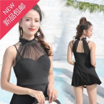 one piece  See description M suggests 80-100 kg, l 100-110 kg, XL 110-120 kg Black collection and free swimming cap, navy blue lotus root pink, elegant black set swimming goggles + mobile phone cover, random color Skirt one piece Steel strap breast pad polyester fiber J-1723