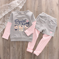 suit Other / other Pink Bear fake two-piece suit grey bear fake two-piece suit female spring and autumn motion Long sleeve + pants 2 pieces routine
