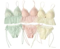 Bra Set  Average size Cream Pink Green Other / other