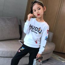 suit Sunsicci / Xuan Shiqi white 110cm120cm130cm140cm150cm160cm female spring and autumn motion Long sleeve + pants 2 pieces Socket nothing other