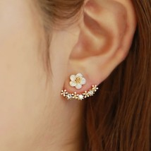 Ear Studs Alloy / silver / gold RMB 1.00-9.99 Other / other The main picture is a pair of gold and a pair of silver brand new Japan and South Korea female goods in stock Fresh out of the oven Alloy inlaid artificial gem / semi gem Plants and flowers