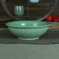 bowl porcelain two thousand four hundred and ninety Celadon Plants and flowers Over 8 inches Chinese style 1 Longquan  plum green glaze Self made pictures longquan celadon  50-99.9 yuan public Idyllic
