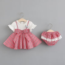 Dress Red and black Other / other female 73cm 80cm 90cm 100cm Cotton 100% summer leisure time Skirt / vest lattice other Splicing style