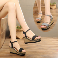 Sandals 35 36 37 38 39 Silver Black Other / other PU Fish mouth Slope heel High heel (5-8cm) Summer of 2018 Flat buckle Korean version Color matching Adhesive shoes Youth (18-40 years old) polyurethane daily Rear trip strap Hollowed out color matching slope with muffin and waterproof platform Shaving