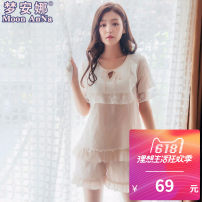 Pajamas / housewear set female Moon Anna MLXL Apricot coffee cotton Short sleeve Simplicity Leisure home summer Thin money Crew neck Solid color shorts Socket youth 2 pieces rubber string More than 95% Knitted cotton fabric lace eighty-one thousand and ninety-one Summer of 2018 Cotton 100%