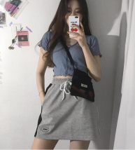 skirt Summer of 2018 Average size grey Short skirt motion Solid color Type H 18-24 years old Other / other cotton