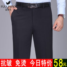 Western-style trousers FGN / rich bird Business gentleman Black, light gray, magenta blue, black gray, blue gray, dark gray, medium gray, medium gray stripe, dark gray dark grid, black gray dark grid, blue gray vertical grain trousers Straight cylinder winter go to work middle age Business Casual