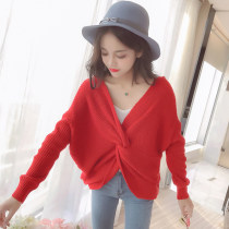 Wool knitwear Autumn of 2018 Average size Red Black Beige Long sleeves singleton  Socket other More than 95% Regular routine commute Bat type V-neck Bat sleeve Solid color Socket Korean version 7642# 18-24 years old Other / other