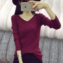 Wool knitwear ML Winter 2017 Long sleeve Sleeve Conventional models Single conventional Commuting Self-cultivation conventional Pure color V collar