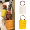 Bag handbag PU Bucket bag U.BAGS Yellow yellow ring brown beibai + colorful beibai small spot Oh yellow green blue black brand new in leisure time soft