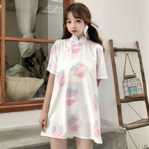 Dress Summer of 2018 White pink S M Short skirt singleton  Short sleeve Sweet Half high collar Loose waist other Socket other routine Others 18-24 years old Other / other 0718 Crepe de Chine polyester fiber solar system