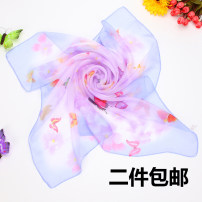Scarf / silk scarf / Shawl Chiffon Spring and summer female Scarves / scarves multi-function Korean version Small square towel Student children - 7-14 years old, parent-child, young, middle-aged and old Plants and flowers printing 70cm 70cm More than 96% CHHH