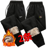 sweatpants  Self cultivation M,L,XL,2XL,3XL,4XL,5XL teenagers trousers Youth fashion Others motion winter Youthful vigor Plush and thicken 2020 middle-waisted Little feet Micro bomb Geometric pattern Three dimensional tailoring No iron treatment polyester fiber polyester fiber
