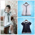 Dress White Navy Other / other female Cotton 95% polyester 5% summer ethnic style Short sleeve other cotton A-line skirt SFW Class B