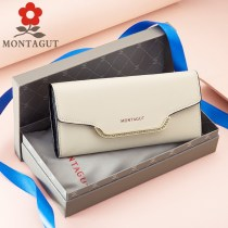 wallet Long Wallet cowhide Montagut / montejiao Pink Beige Cherry Pink Black brand new Sweet Lady  female Buckles Solid color 70% off Horizontal style