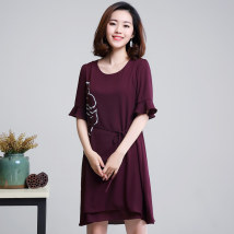 Women's large Summer of 2018 Navy, dark green, orange, purplish red M 2XL 3XL 4XL Large XL Large L Dress singleton  commute easy thin Socket Short sleeve Simplicity Crew neck Medium length polyester printing and dyeing routine 35-39 years old Medium length zipper