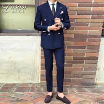 Suit Fashion City Others Dark blue black L S M XL 2XL routine Double slit Flat lapel summer Self cultivation Two double breasted Other leisure youth tide Regular collar (collar width 7-9cm) 2018 Arrest line cotton