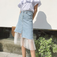 skirt Spring of 2018 S M L XL Picture color Short skirt Versatile High waist Irregular Solid color Type A 18-24 years old two point two five 51% (inclusive) - 70% (inclusive) Denim cotton Mesh splicing