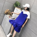 Dress Summer of 2018 Blue black Average size Mid length dress singleton  Short sleeve street Crew neck Loose waist Solid color Socket A-line skirt other Others 25-29 years old Type A Color fixing with stitching resin eighteen million fifty-one thousand four hundred and twenty-five More than 95% other