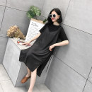 Dress Summer of 2018 dark grey M L Mid length dress Fake two pieces Short sleeve street Crew neck Loose waist Solid color Socket other other Others
