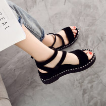 Sandals three hundred and forty-three billion five hundred and thirty-six million three hundred and seventy-three thousand eight hundred and thirty-nine Apricot black Lanzani Suede Fish mouth Slope heel Middle heel (3-5cm) Summer of 2018 Flat buckle Korean version Solid color Adhesive shoes daily