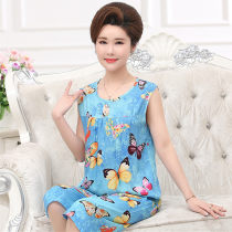 Pajamas / housewear set female Dan Yarong XXL (about 80-115kg recommended) 3XL (about 115-150kg recommended) 4XL (about 150-170kg recommended) viscose  Sleeveless Simplicity Leisure home summer Thin money Crew neck Plants and flowers Cropped Trousers Socket old age 2 pieces rubber string printing