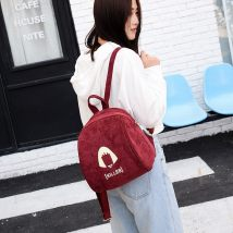 Backpack velvet Other / other Black wine red Peacock Blue Dark Khaki brand new Small zipper leisure time Double root Japan and South Korea soft youth
