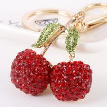 Key buckle Capital of shell drilling Cherry key ring (red) cherry key ring (pink) kirsite Imitation food series Idyllic