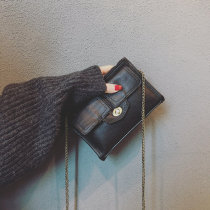 Bag Inclined shoulder bag PU Small square bag Han gexuan Brown black dark green brand new Retro Small leisure time soft zipper no Solid color Single root Straddle shoulder nothing youth Horizontal square chain Chain handle polyester fiber Zipper pocket mobile phone bag soft surface Bag with cover