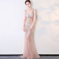 Dress / evening wear Weddings, adulthood parties, company annual meeting, performance date XS S M L XL Apricot longuette High waist Deep collar V Netting 18-25 years old Sleeveless