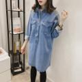 Shirt / Chiffon Long sleeves YY Dark blue light blue XL XXL XXL extra XXL other sizes Solid color Lapel Korean version spring and autumn Denim
