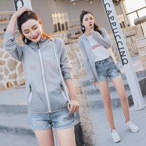 short coat Summer of 2018 SMLXL2XL Grey Pink White Purple Long sleeve Short paragraph Thin section Single Straight conventional street Hooded zipper Pure color Love and beauty QMZ18WH805 Nylon Polyamide fiber (nylon) 100% Pure electricity supplier (only online sales)