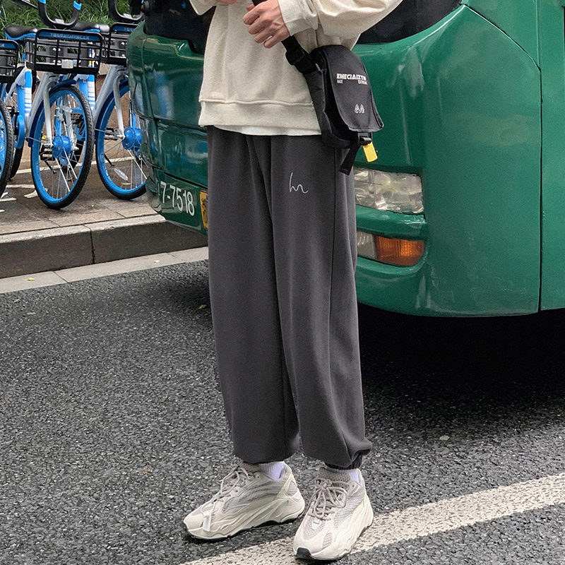 sweatpants  easy M L XL 2XL teenagers Ninth pants Youth fashion Go further Black blue dark grey black (plush) grey (plush) blue (plush) dark grey (plush) grey Other leisure summer tide routine 2020 X-X07263342B Medium low back Little feet Micro bomb Solid color Pocket decoration No iron treatment