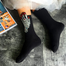 Socks / base socks / silk socks / leg socks female Other / other Average size Black and White Coffee Yellow Black Green Navy grey 1 pair routine Middle cylinder autumn Simplicity Solid color Leg shaping