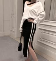 skirt Summer of 2018 S M L XL 2XL 3XL 4XL 5XL black Mid length dress Versatile High waist cotton